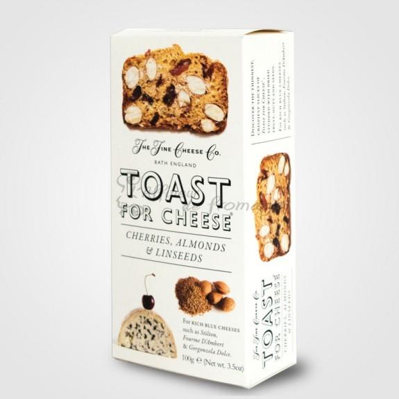 Tostas para el queso con cerezas, almendras y semillas de lino